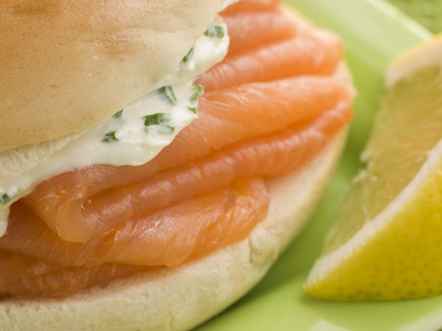 Smoked Salmon and Cream Cheese Bagel with a wedge of Lemon