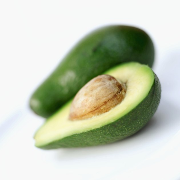 close-up of a sliced avocado on a plate