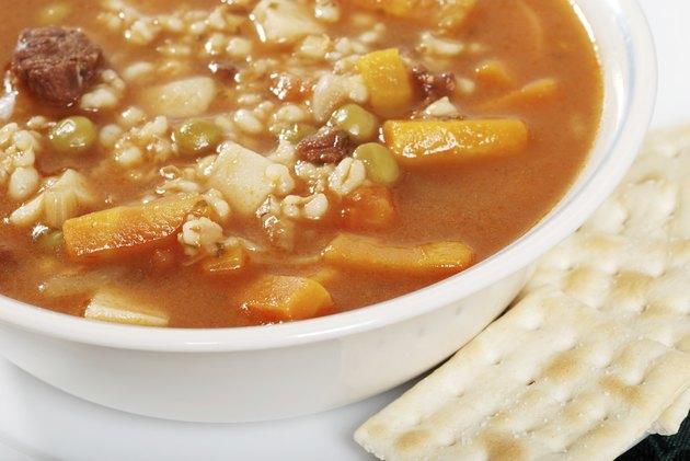 closeup beef barley soup