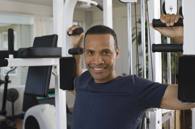 Man working out in home gym