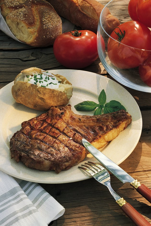 Grilled steak and baked potato