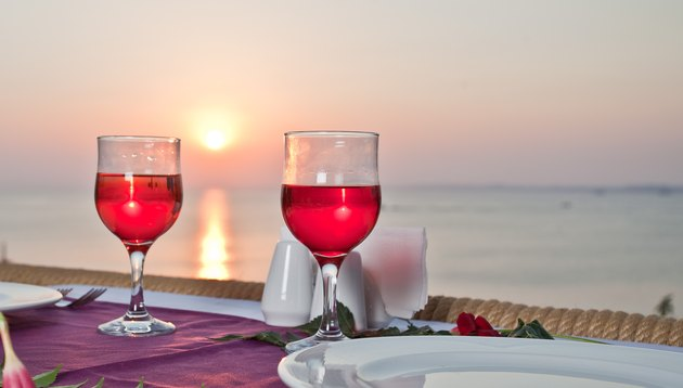 Red Wine glass with sunset.