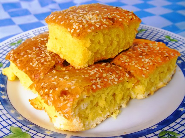 Corn bread with cheese and sesame