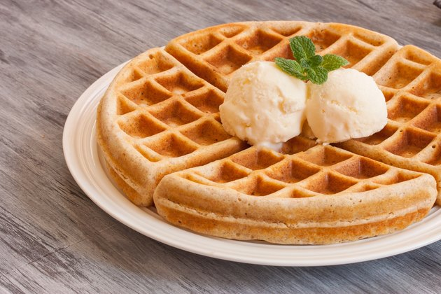 Waffle served with ice cream