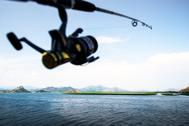 Fishing, fishing rod, reel and pond