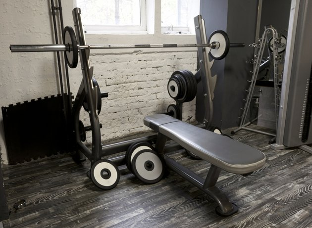 Weight bench in gym
