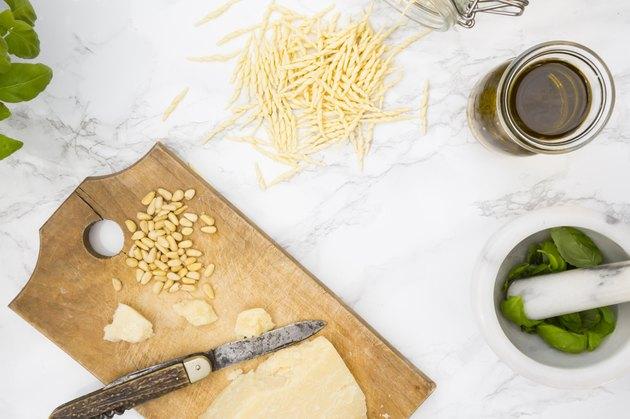 Pesto alla genovese, basil, parmesan, pine-nuts, olive oil and trofie-noodles