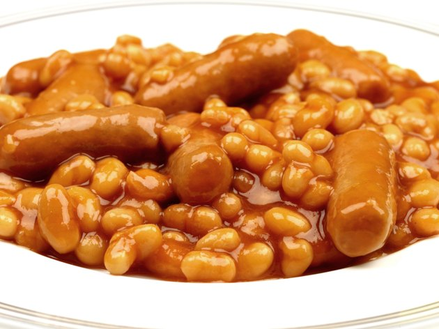 Plate of High Fibre Baked Beans and Sausages