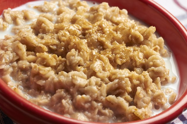 Cooked rolled oats oatmeal with a bit of milk
