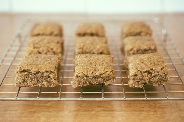 Traditional homemade pieces of Flapjack on a cooling rack.