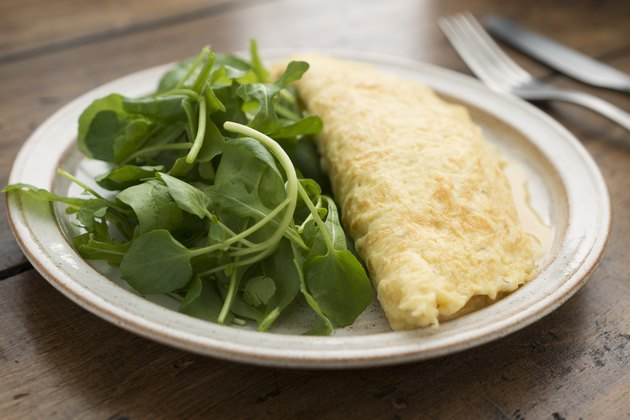 Plain omelette and salad