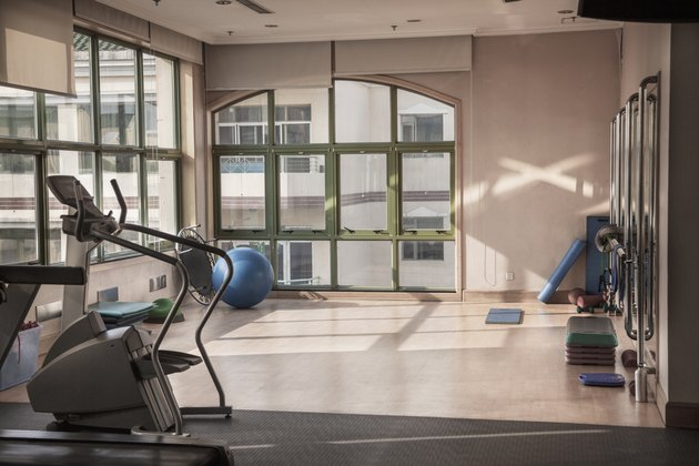 Fitness studio with dance rail.