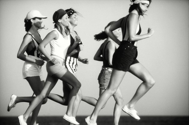 Women jogging, side view