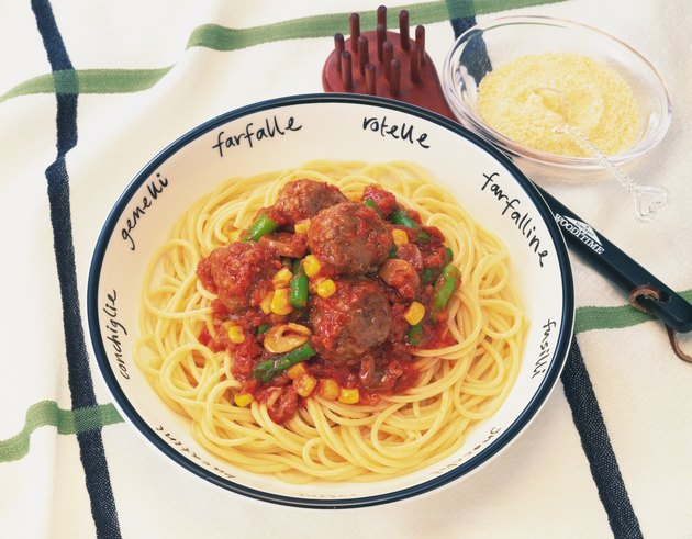 Spaghetti and Meatballs, High Angle View