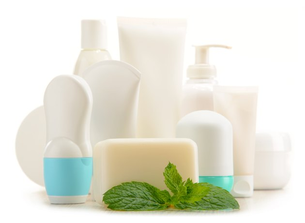 Composition with containers of body care and beauty products