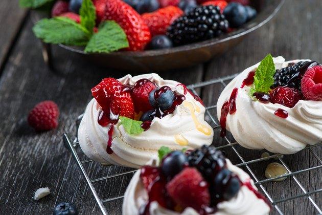 Homemade pavlova meringue with fresh berries