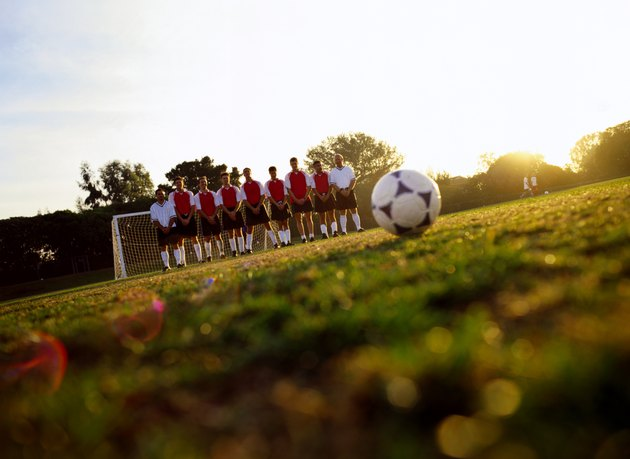 Soccer Team Standing in front of Goal