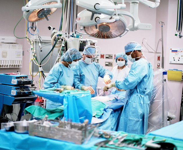 Surgeons and nurses in operating room performing procedure