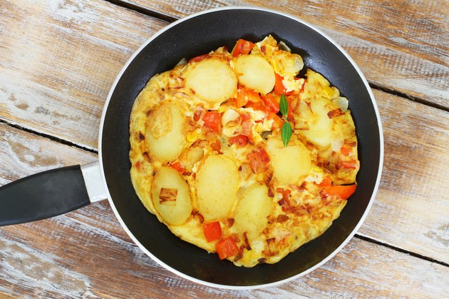 Omelette with potatoes, onions, red pepper and sweetcorn
