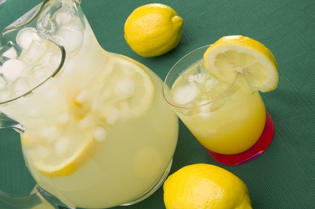 Pitcher and glass of lemonade