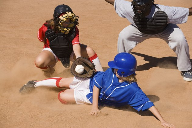 Catcher Tagging Runner at Home Plate