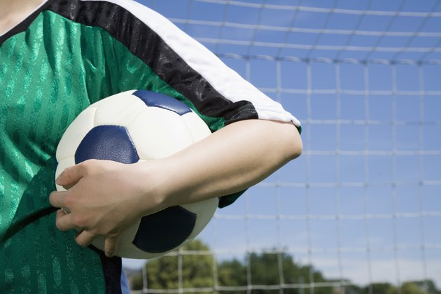 Soccer player's arm holding ball