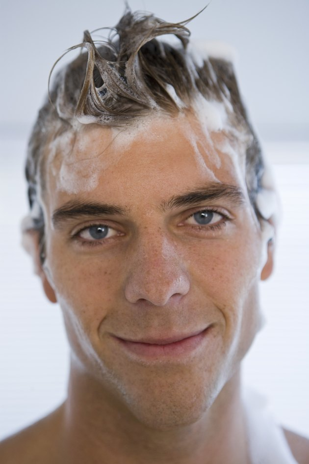 Man with shampoo in hair