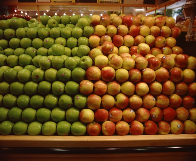 Variety of apples in grocery store