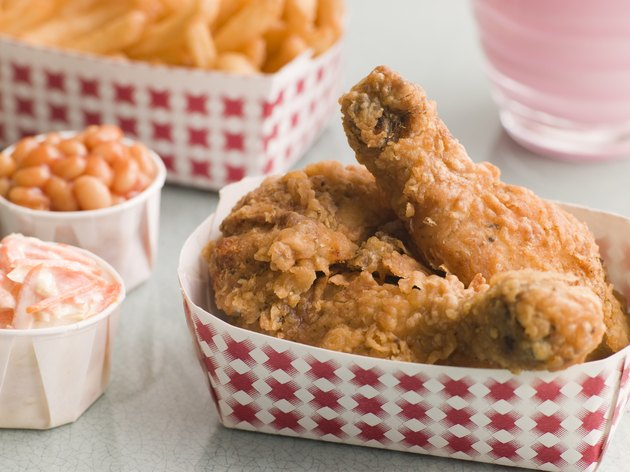 Southern Fried Chicken Coleslaw Baked Beans Fries and Strawberry Milkshake
