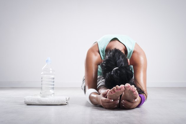 Girl stretching after workout