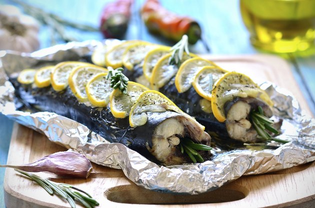 Mackerel baked in a foil.