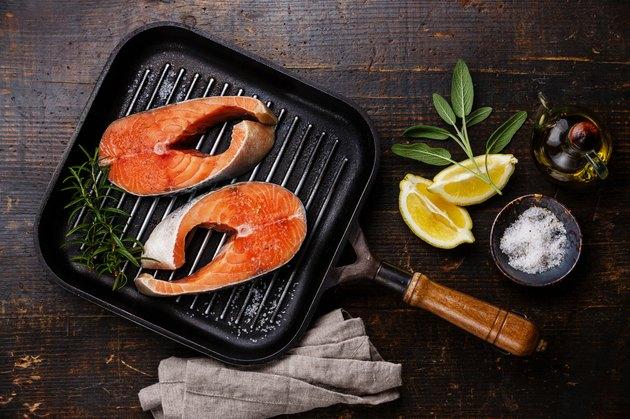 Raw salmon Steak on grill pan