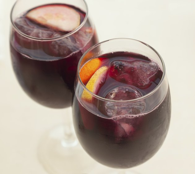 two glasses of sangria, close-up, soft focus