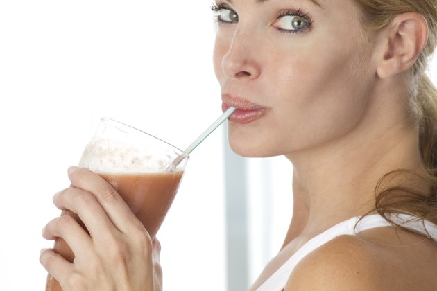 woman with health drink