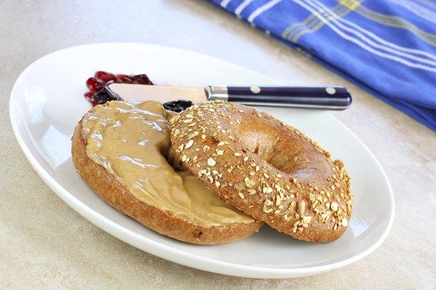 Healthy oat bran bagel and peanut butter.