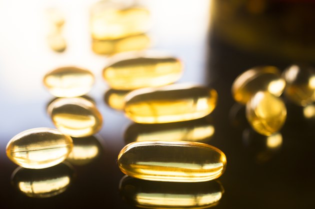 Fish oil capsules health food supplement