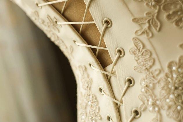 Lace on a brides dress