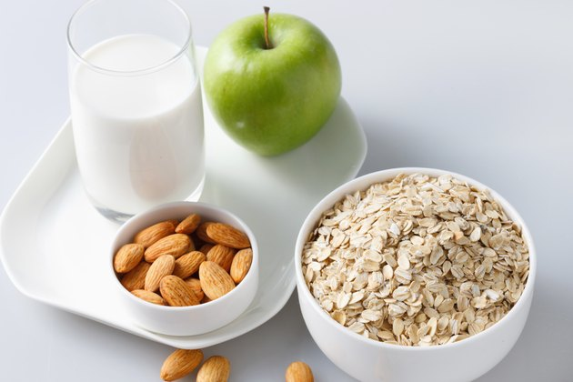 """""""Oatmeal with almonds,apple and glass of milk"""""""