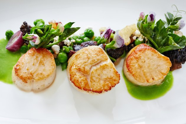 Close up of plate of fresh grilled scallops and sauce