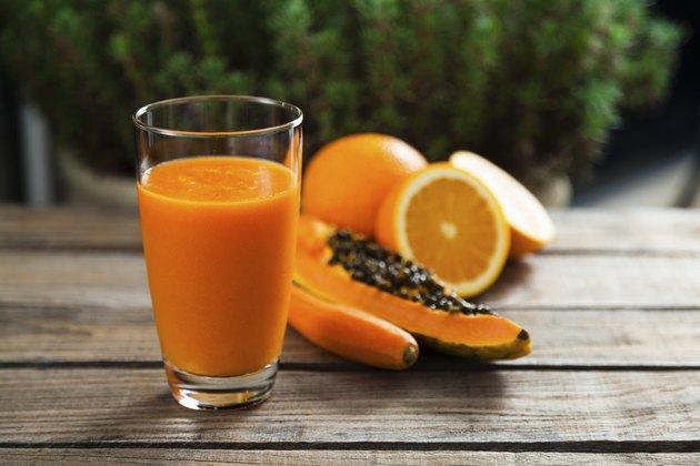 Orange, papaya and carrot smoothie