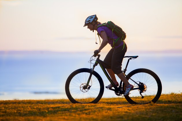 Woman mountain biking