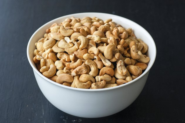 cashew nuts in white bowl