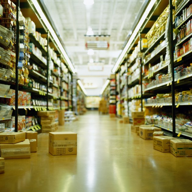 Grocery store aisle with boxes