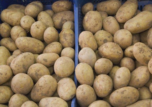 Box of fresh potatoes