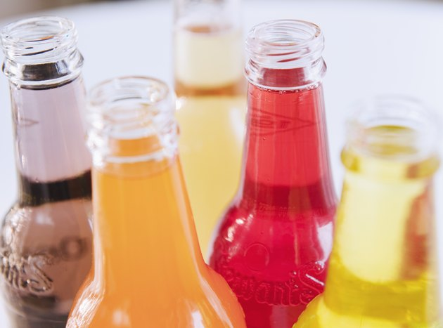 Assorted colorful soda bottles