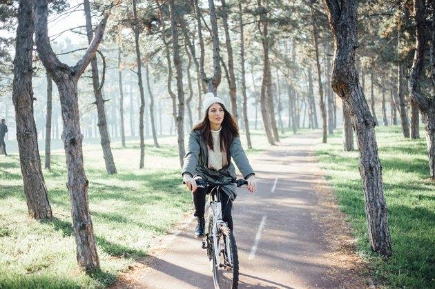 Bike driving on winter sunshine day