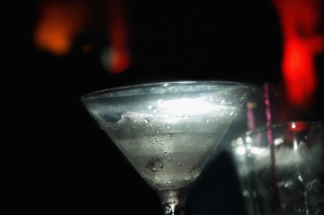 Close-up of martini glass with condensation on outside of it