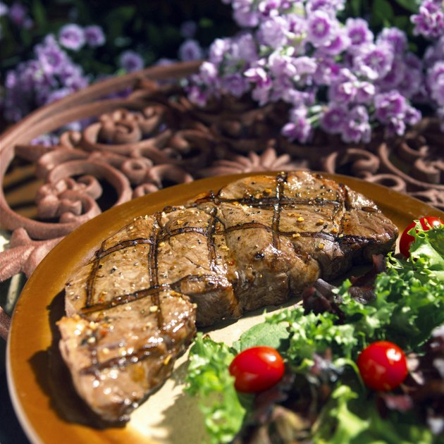 Close-up of steak on a plate