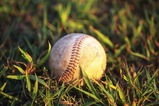Baseball on Grass, Close Up, Differential Focus