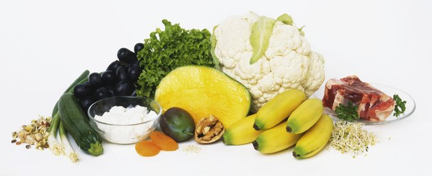 Fruit and vegetables, with nuts, meat and dairy products, used in raw food diet